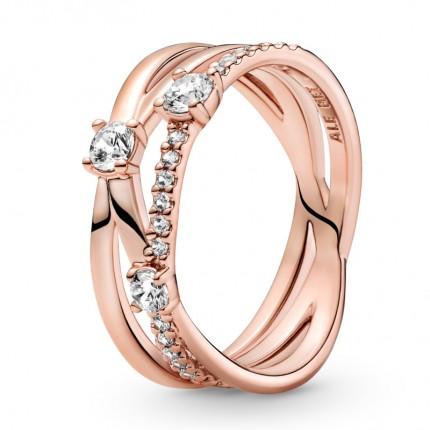 PANDORA Ring 14k rose gold plattiert Sparkling Triple Band 189400C01