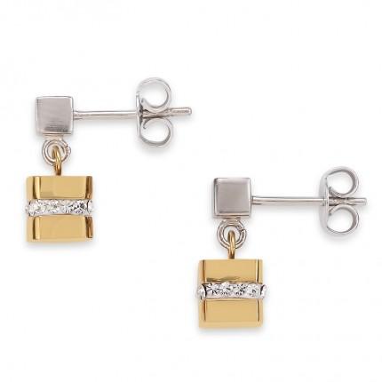 COEUR DE LION Ohrschmuck Cube Gold Kristalle 4967/21-1617