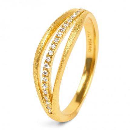 BERND WOLF Ring Silber Goldplattiert SENTRO Zirkonia 52032156