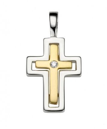 CEM Anhänger Kreuz Zirkonia Silber / Gold plattiert BAH 904706