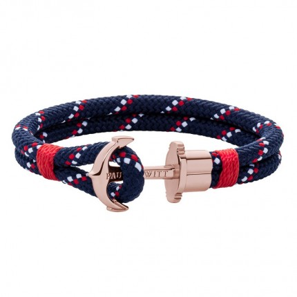 Paul Hewitt PHREPS Armband Nylon Roségold Marineblau Rot PH002304