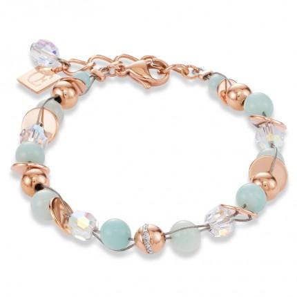 COEUR DE LION Armband Twisted Pearls Roségold Mintgrün 4993/30-0522
