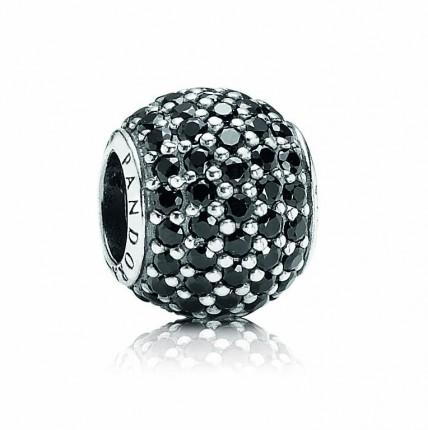PANDORA Silberelement mit schwarzen Kristallen 791051 NCK