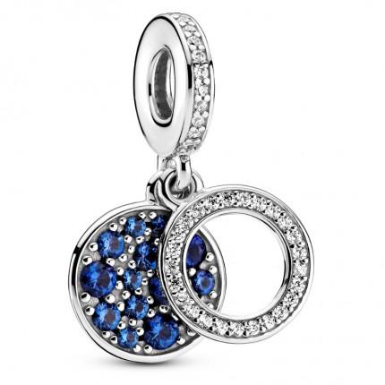 PANDORA Silberelement Anhänger Sparkling Blue Disc 799186C01
