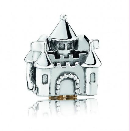 PANDORA Silberelement Schloss mit goldener Krone und rosa Zirkonia 791133 PCZ