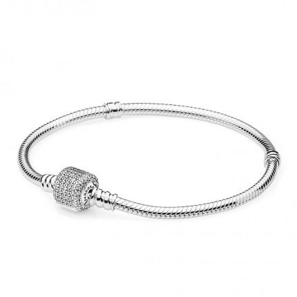 PANDORA Silberarmband mit Pave-Kugelverschluss 590723CZ