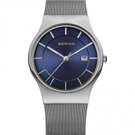 Bering Herrenuhr Classic Milanaise Silber Blau 11938-003
