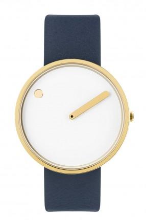PICTO Armbanduhr Unisex Edelstahl Gold Lederband Blau 43321-6720G