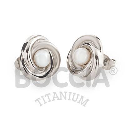 Boccia Ohrschmuck Titan Knoten Süßwasserzuchtperle 0590-01