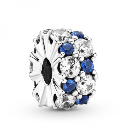 PANDORA Silberelement Clip Clear & Blue Sparkle 799171C01