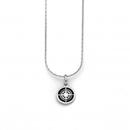 DUR Kette Silber Lavasand Kompassrose K2384