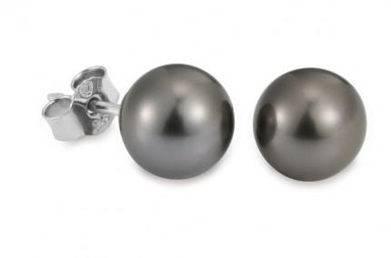 ADRIANA Perlenohrstecker Silber Rhodiniert Tahitiperle B1