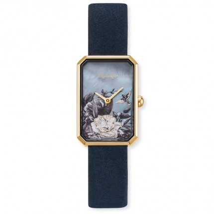 Engelsrufer Armbanduhr Edelstahl Gold Blumen Lederband Nachtblau ERWA-FLOWER1-NBL2-RG