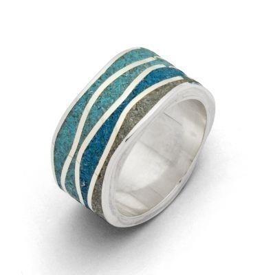 DUR Ring Silber Rhodiniert Meeresblau Steinsand R5106