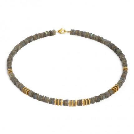 BERND WOLF Collier PIATOLA Silber Goldplattierung Labradorit 84402616-43
