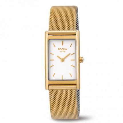 Boccia Titanium Damenarmbanduhr Trend Milanaiseband Gold 3304-03
