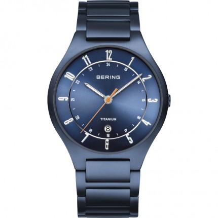Bering Herrenuhr Titanium Blau 11739-797