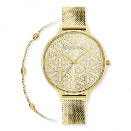 Engelsrufer Armbanduhr + Armband Set Gold Lebensblume ERWO-LIFL-01