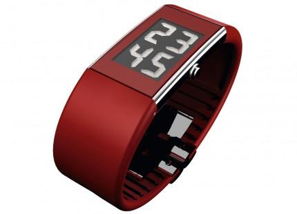 ROSENDAHL Armbanduhr Digital Watch II Large Edelstahl Polyurethan Rot 43108