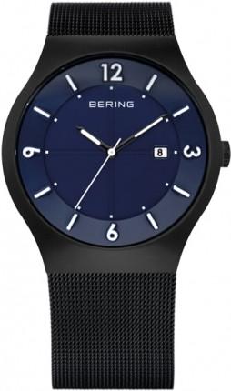 Bering Herrenuhr Solar Schwarz/ Blau 14440-227