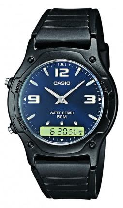 Casio Armbanduhr Collection Analog Digital Schwarz Blau AW-49HE-2AVEF