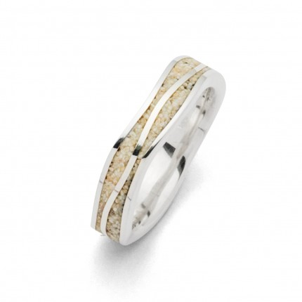 DUR Ring Silber Rhodiniert Ebbe & Flut Strandsand R5108