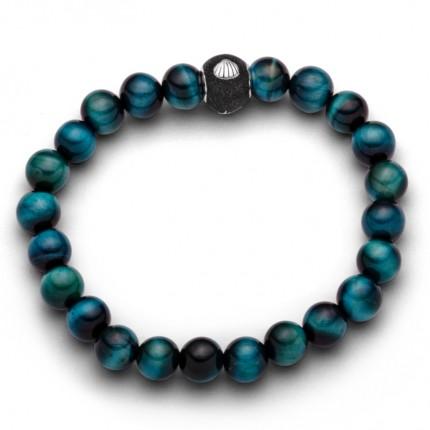 DUR Armband Silber Tigerauge Blau Grün A1601