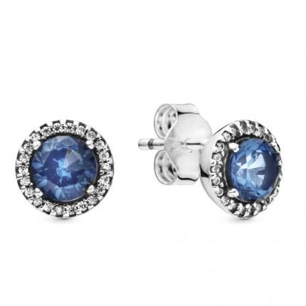 PANDORA Ohrschmuck Silber Blue Round Sparkle 296272C01
