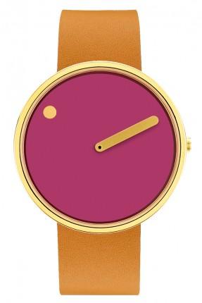 PICTO Armbanduhr Unisex Edelstahl Gold Lederband Hellbraun 43378-4520MG