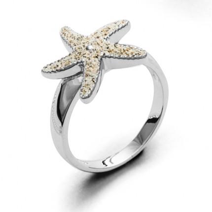 DUR Ring Silber Rhodiniert Seestern Strandsand R4595
