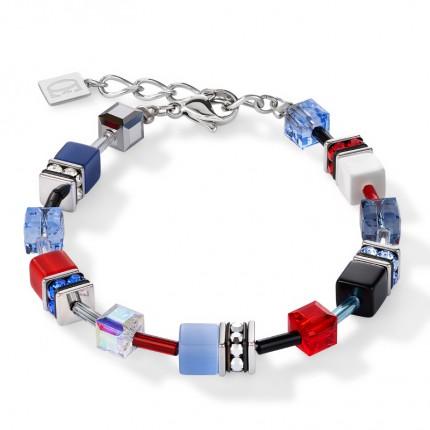 COEUR DE LION Armband Geo Cube Multicolor Blau Rot 2838/30-0703
