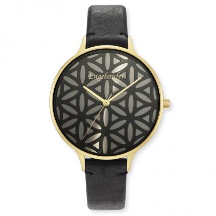 Engelsrufer Armbanduhr Edelstahl Gold Lebensblume Lederband Schwarz ERWA-LIFL-LBK1-LG