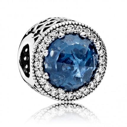 PANDORA Silberelement Mitternachtsblauer Strahlenkranz der Herzen 791725NMB