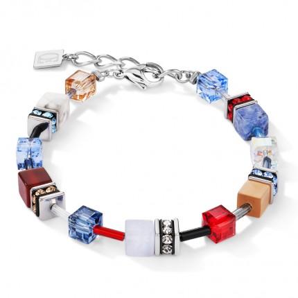 COEUR DE LION Armband Geo Cube Swarovski-Kristalle Edelsteine Blau Rot 4905/30-0703
