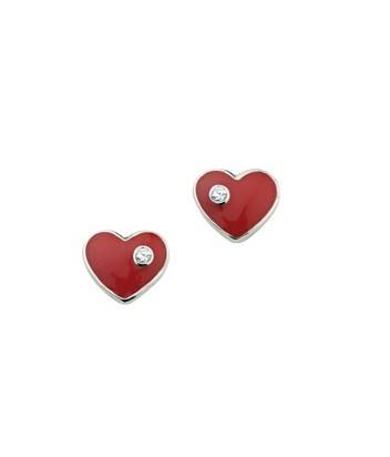 CEM Ohrschmuck Silber Herz Rot Zirkonia BOS 900118