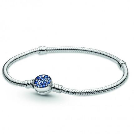 PANDORA Silberarmband Sparkling Blue Disc Clasp 599288C01