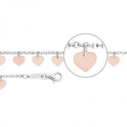 DER KETTENMACHER Armband Silber Rhodiniert Herzen FH-19S