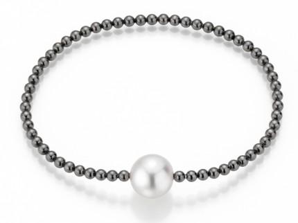 ADRIANA Perlenarmband Silber Geschwärzt Süßwasserperle R191