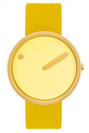PICTO Armbanduhr Unisex Edelstahl Gold Lederband Gelb 43330-6120MG