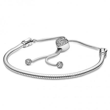 PANDORA Silber Armband Moments Pavé Herz 598699C01
