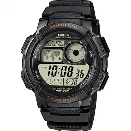Casio Armbanduhr Collection Schwarz Weltzeit AE-1000W-1AVEF