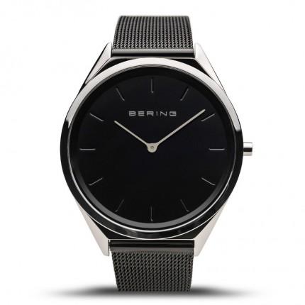 Bering Armbanduhr Unisex Ultra Slim Edelstahl Schwarz 17039-102