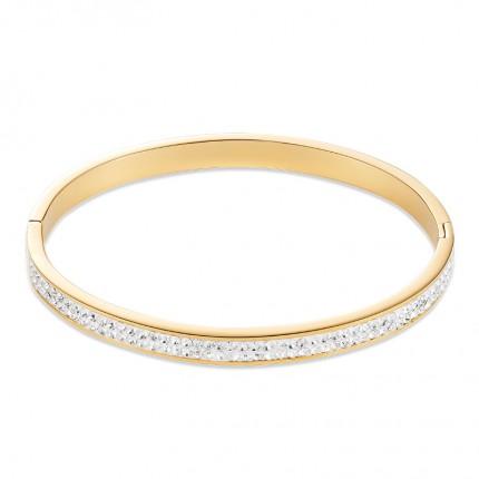 COEUR DE LION Armreif Edelstahl Gold Kristalle Pavé 19cm 0314/33-1800