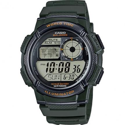 Casio Armbanduhr Collection Grün Weltzeit AE-1000W-3AVEF