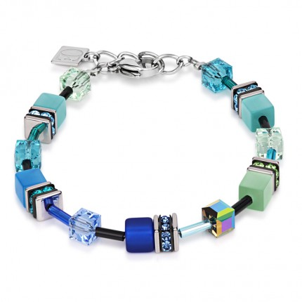 COEUR DE LION Armband Geo Cube Multicolor Blau Grün 2838/30-0705