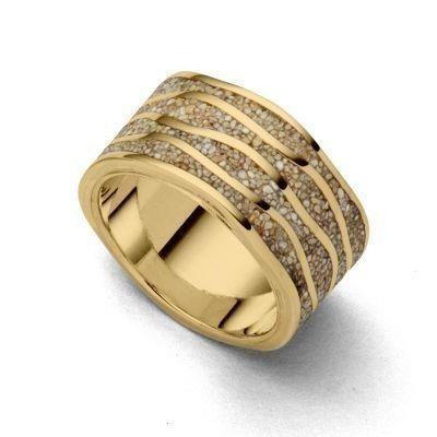 DUR Ring Silber Vergoldet Ebbe & Flut Strandsand R5175