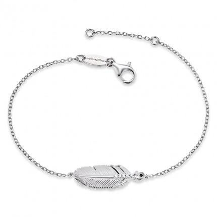 Engelsrufer Armband Silber Rhodiniert Feder Zirkonia ERB-LILFEDER-ZI
