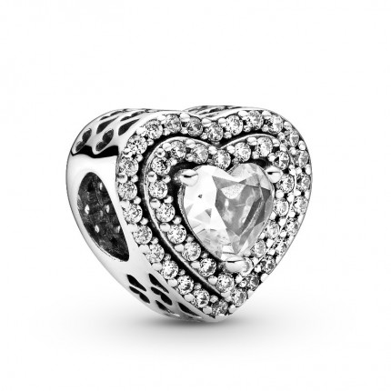 PANDORA Silberelement Sparkling Levelled Hearts 799218C01