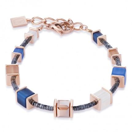 COEUR DE LION Armband Geo Cube Swarovski-Kristalle Polaris Blau Beige 4945/30-0710
