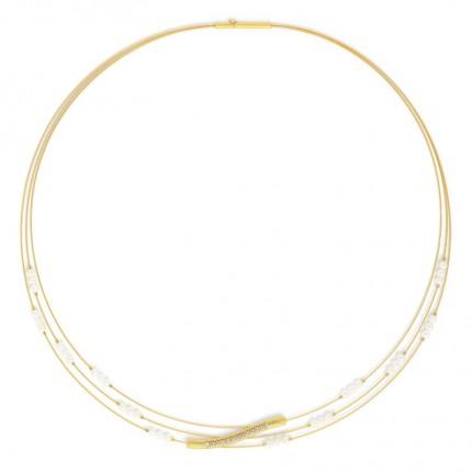 BERND WOLF Collier UPRISE Silber Goldplattierung Perle 87124656-42